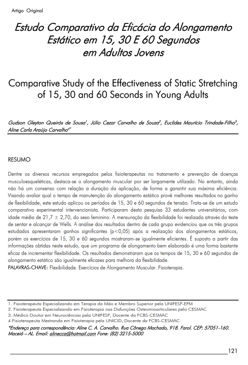 Cover of Comparative Study of the Effectiveness of Static Stretching of 15, 30 and 60 Seconds in Young Adults.