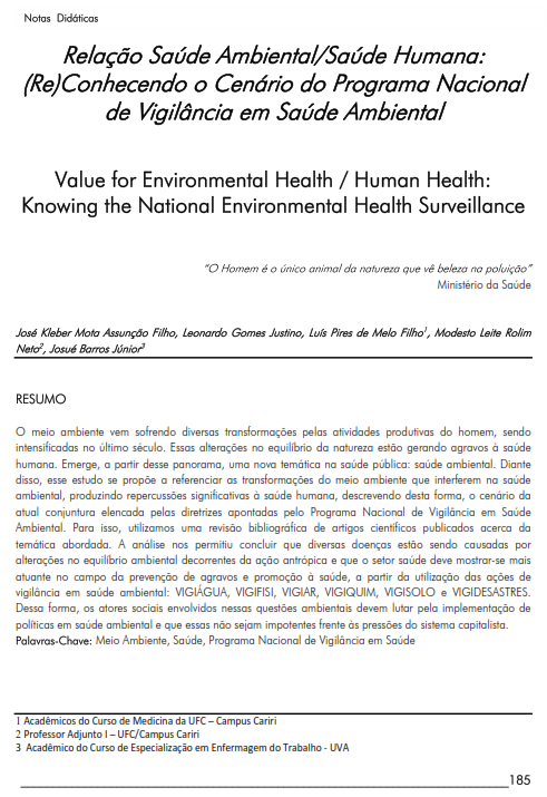 Cover of Value for Environmental Health / Human Health: Knowing the National Environmental Health Surveillance.