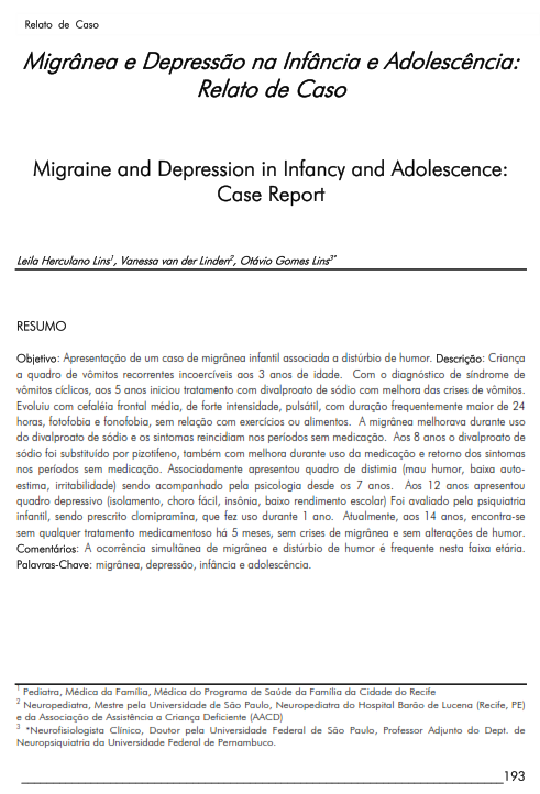 Cover of Migraine and Depression in Infancy and Adolescence: Case Report.