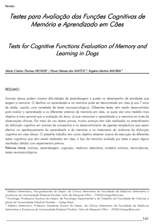 Cover of Tests for Cognitive Functions Evaluation of Memory and Learning in Dogs.