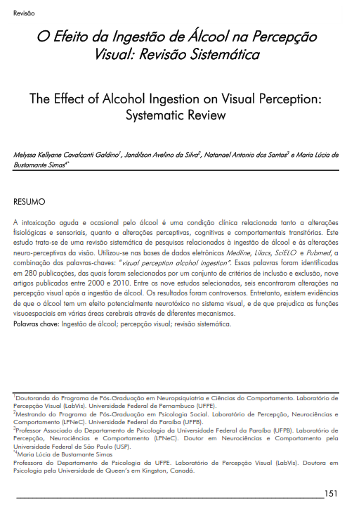 Cover of The Effect of Alcohol Ingestion on Visual Perception: Systematic Review.
