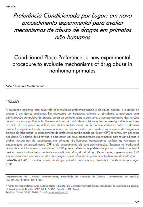 Cover of Conditioned Place Preference: a new experimental procedure  to evaluate mechanisms of drug abuse in nonhuman  primates.