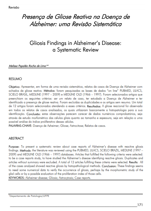 Cover of Gliosis Findings in Alzheimer's Disease: a Systematic Review