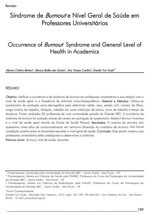 Cover of Occurrence  of Burnout Syndrome and General  Level of Health in Academics.