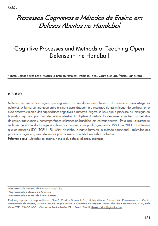 Cover of Cognitive Processes and Methods of Teaching Open Defense in the Handball