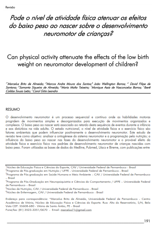 Cover of Can physical activity attenuate  the effects of the low birth weight on neuromotor development of children?