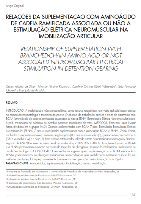 Cover of RELATIONSHIP OF SUPPLEMETATION WITH BRANCHED-CHAIN AMINO  ACID OR NOT ASSOCIATED NEUROMUSCULAR ELECTRICAL STIMULATION IN DETENTION GEARING