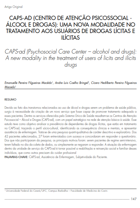 Cover of CAPS-ad (Psychosocial Care Center – alcohol and drugs): A new modality in the treatment of users of licits and ilicits drugs