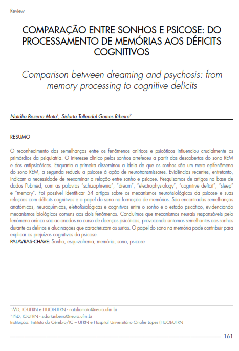 Cover of Comparison between  dreaming and psychosis: from memory processing to cognitive deficits