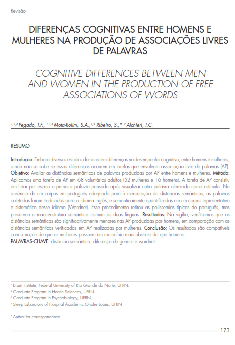 Cover of COGNITIVE DIFFERENCES BETWEEN MEN AND WOMEN IN THE PRODUCTION OF FREE ASSOCIATIONS OF WORDS