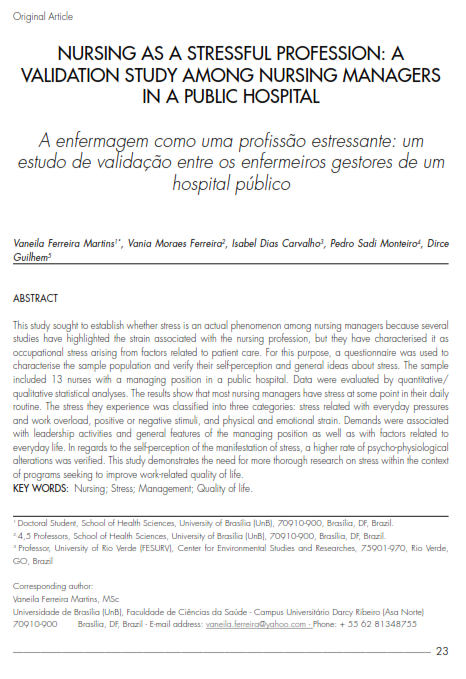 Cover of NURSING AS A STRESSFUL PROFESSION: A VALIDATION STUDY AMONG NURSING MANAGERS IN A PUBLIC HOSPITAL